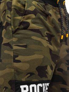Khaki dresowe krótkie spodenki męskie Denley KK300161