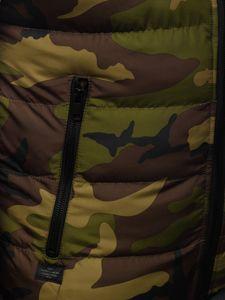Khaki pikowana kamizelka męska moro z kapturem Denley 6506