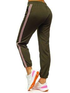 Khaki spodnie dresowe damskie Denley YW01020A