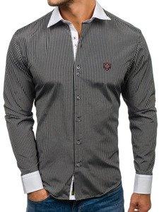 Koszula męska elegancka w paski z długim rękawem czarna Bolf 4784