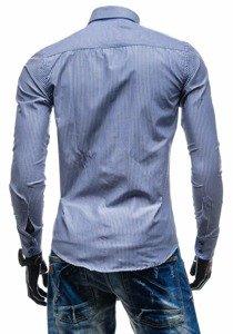 Koszula męska elegancka w paski z długim rękawem granatowa Bolf 4789