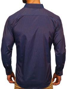 Koszula męska elegancka w paski z długim rękawem granatowo-czerwona Denley NDT9