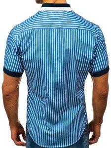 Koszula męska elegancka w paski z krótkim rękawem niebieska Bolf 4501