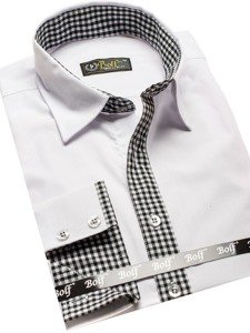 Koszula męska elegancka z długim rękawem biała Bolf 0939  dNvJj