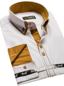 Koszula męska elegancka z długim rękawem biała Bolf 3703