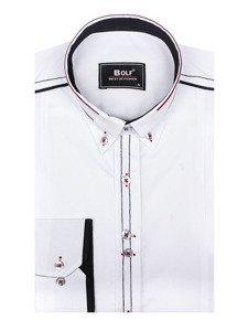 Koszula męska elegancka z długim rękawem biała Bolf 4707