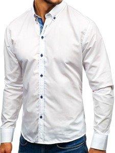 Koszula męska elegancka z długim rękawem biała Bolf 8840