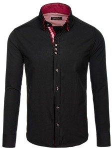 Koszula męska elegancka z długim rękawem czarna Bolf 4706