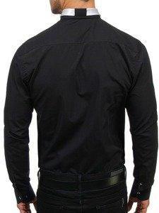Koszula męska elegancka z długim rękawem czarna Bolf 4714-1