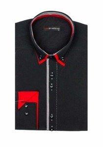 Koszula męska elegancka z długim rękawem czarna Denley 6859
