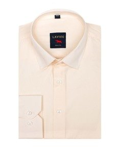 Koszula męska elegancka z długim rękawem ecru Denley TS100