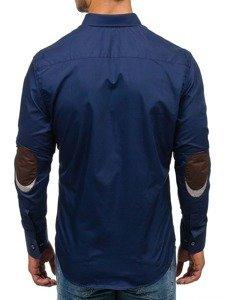 Koszula męska elegancka z długim rękawem granatowa Bolf 4706