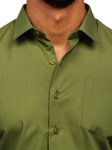 Koszula męska elegancka z długim rękawem khaki Denley 0003
