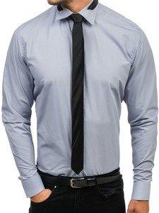 Koszula męska elegancka z długim rękawem szara Bolf 4714-1