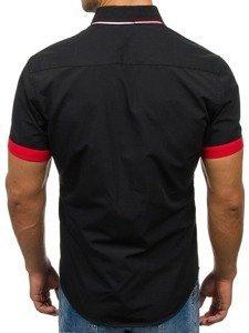Koszula męska elegancka z krótkim rękawem czarna Bolf 2926-A