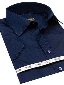 Koszula męska elegancka z krótkim rękawem granatowa Bolf 7501
