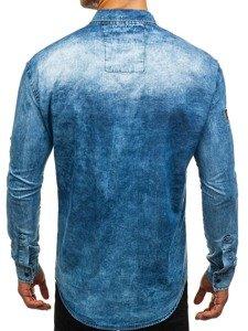 Koszula męska jeansowa z długim rękawem niebieska Denley 0992