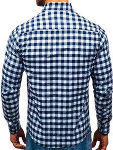 Koszula męska w kratę z długim rękawem biało-granatowa Bolf 5816-A