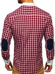 Koszula męska w kratę z długim rękawem bordowa Bolf 5737