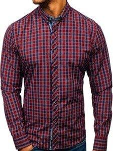 Koszula męska w kratę z długim rękawem bordowa Bolf 8834
