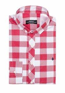 Koszula męska w kratę z długim rękawem czerwona Denley 0773