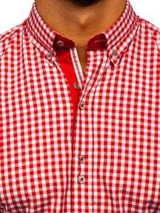 Koszula męska w kratkę z długim rękawem czerwona  Bolf 9712