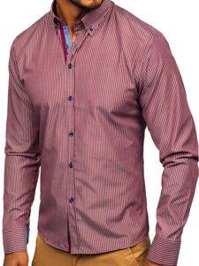 Koszula męska w paski z długim rękawem bordowa Bolf 9714