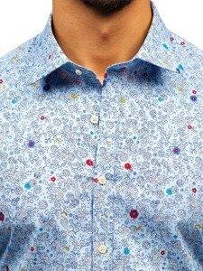 Koszula męska we wzory z długim rękawem błękitna 300G7