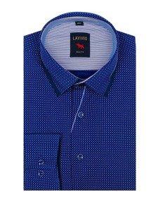 Koszula męska we wzory z długim rękawem kobaltowa Denley TS102
