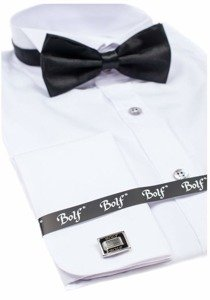 Koszula męska z długim rękawem biała Bolf 4702 muszka+spinki