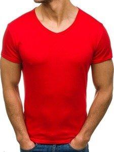 Koszulka męska bez nadruku w serek czerwona Denley 2007