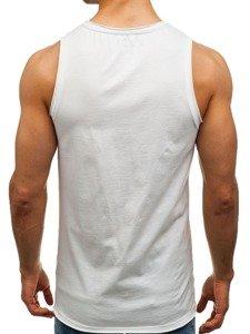 Koszulka tank top męska z nadrukiem biała Denley 1124