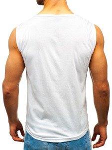 Koszulka tank top z nadrukiem biała Denley 14270