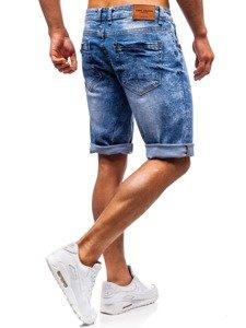 Krótkie spodenki jeansowe męskie niebieskie Denley 7806