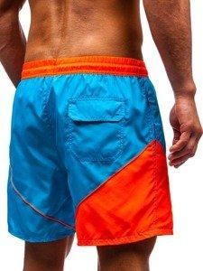 Krótkie spodenki kąpielowe męskie jasnoniebieskie Denley 319