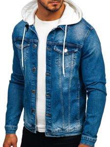 Kurtka jeansowa męska z kapturem granatowa Denley 606
