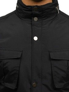 Kurtka męska przejściowa elegancka czarna Denley f202