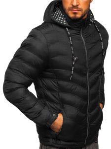 Kurtka męska przejściowa sportowa pikowana czarna Denley 50A255