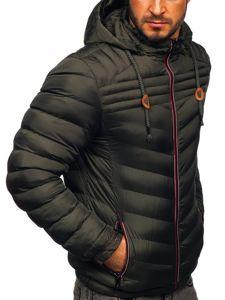 Kurtka męska przejściowa sportowa pikowana khaki Denley 50A178