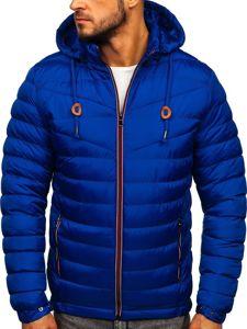 Kurtka męska przejściowa sportowa pikowana niebieska Denley 50A160
