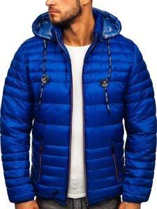Kurtka męska przejściowa sportowa pikowana niebieska Denley 50A215