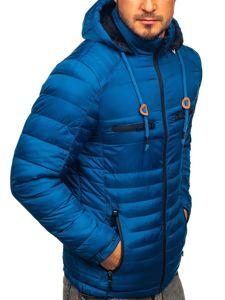 Kurtka męska przejściowa sportowa pikowana niebieska Denley 50A94