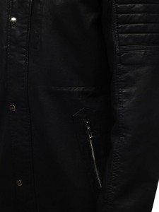 Kurtka męska skórzana parka czarno-brązowa Denley 5573