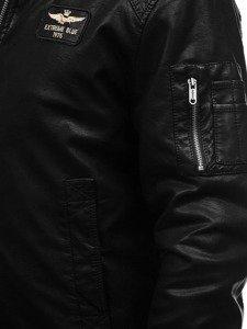 Kurtka męska skórzana pilotka czarna Denley EX837