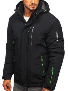Kurtka męska zimowa narciarska czarno-zielona Denley 1910
