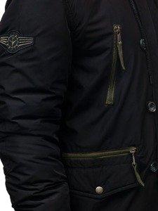 Kurtka męska zimowa parka czarna Denley 1045