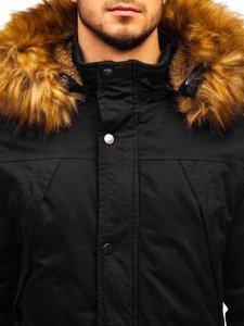Kurtka męska zimowa parka czarna Denley R106