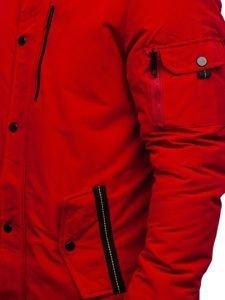 Kurtka męska zimowa parka czerwona Denley 5841
