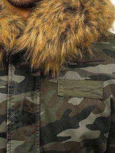Kurtka męska zimowa parka moro-zielona Denley B3707