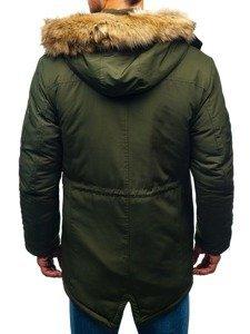 Kurtka męska zimowa parka zielona Denley 1071